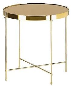 Mesa de apoio ø 40 cm castanha e dourada LUCEA