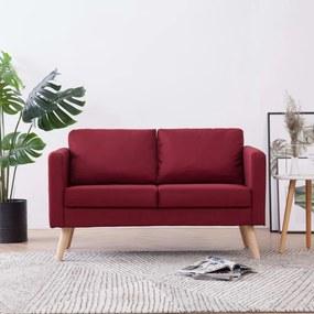 Sofá de 2 lugares em tecido vermelho tinto