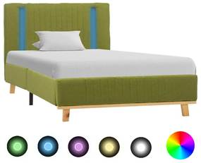 286668 vidaXL Estrutura cama com LED 100x200 cm tecido verde
