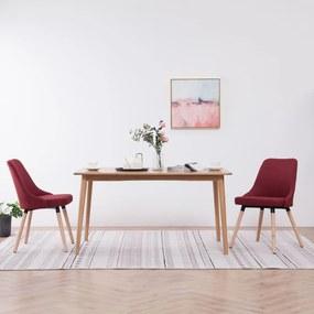 283633 vidaXL Cadeiras de jantar 2 pcs tecido vermelho tinto
