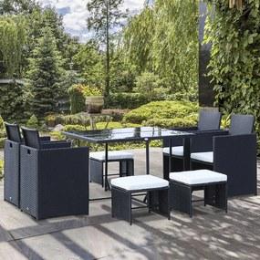 Outsunny Conjunto de Móveis de Vime PE para Jardim Conjunto de 9 peças Mesa Cadeiras e Bancos com Almofadas para Exterior Preto