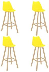 3068521 vidaXL Bancos de bar 4 pcs PP e madeira de faia maciça amarelo