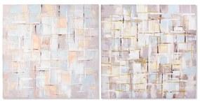 Pintura DKD Home Decor Squares Tela Abstrato (2 pcs) (100 x 3 x 100 cm)