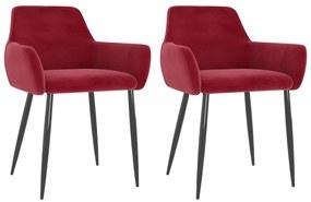 323109 vidaXL Cadeiras de jantar 2 pcs veludo vermelho tinto