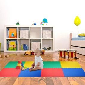 HomCom Tapete de quebra-cabeça para crianças 8 peças Tapetes de espuma EVA com área de cobertura 2,88 m2 Não tóxico 60x60x1,2 cm