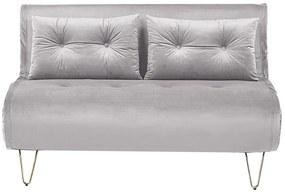 Sofá-cama 2 lugares em veludo cinzento VESTFOLD