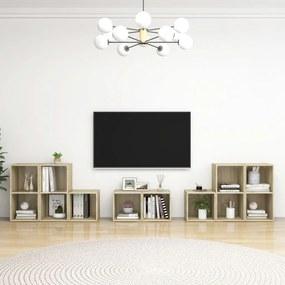 3080063 vidaXL 8 pcs conjunto de móveis de TV contraplacado carvalho sonoma