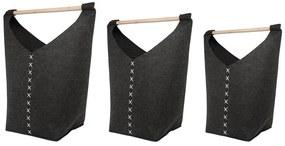 Conjunto de 3 cestos cinzento escuro KESTEL