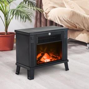 HOMCOM Lareira elétrica Aquecedor de fogão de pé com efeito de queima de madeira 600W / 1200W - Preto - 34,5x17x31cm