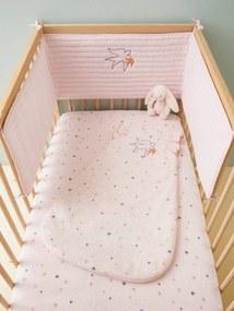 Contorno de berço, tema Baby bird rosa medio liso com motivo