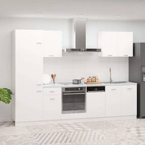 3067631 vidaXL 7 pcs conjunto armários de cozinha contraplacado branco