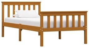 283239 vidaXL Estrutura de cama 100x200 cm pinho maciço castanho mel