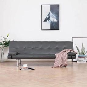 Sofá-cama com 2 almofadas couro artificial cinzento