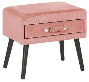 Mesa de cabeceira em veludo rosa EUROSTAR
