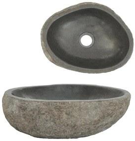 146212 vidaXL Lavatório pedra do rio oval 30-37 cm