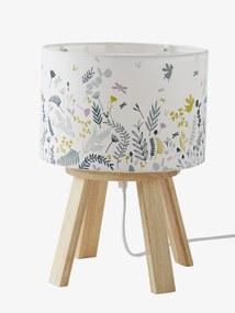 Candeeiro de mesa de cabeceira com pé, Botânico branco claro liso 2
