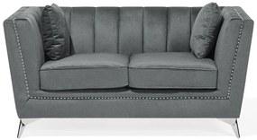 Sofá de 2 lugares em veludo cinzento GAULA