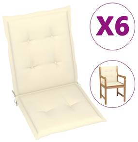 314133 vidaXL Almofadões para cadeiras de jardim 6 pcs 100x50x4 cm creme
