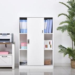 HOMCOM Armário de escritório com 2 portas deslizantes e 3 prateleiras 80x40x120 cm Branco