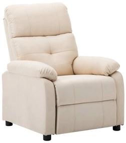 289671 vidaXL Poltrona reclinável tecido creme