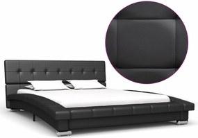 Estrutura de cama 200x120 cm couro artificial preto