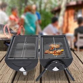 Outsunny Churrasqueira portátil a carvão com 2 grelhadores puxador e fechadura para Picnic Camping 42x26x42 cm Preto