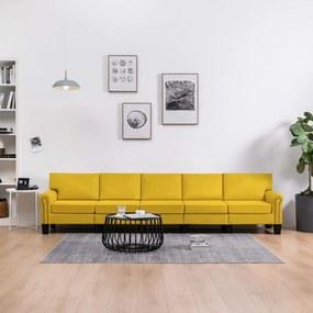 287187 vidaXL Sofá de 5 lugares em tecido amarelo