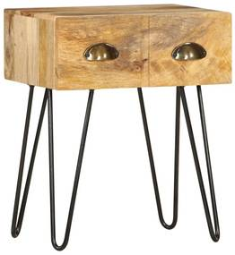 286124 vidaXL Mesa de cabeceira 40x30x50 cm madeira de mangueira maciça