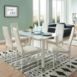 Pack Mesa SHADE II e 6 Cadeiras ZARA Branco