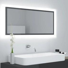 804947 vidaXL Espelho casa de banho LED 100x8,5x37 cm contrapl. cinza brilh.