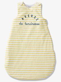Saco de bebé, especial verão, tema Chuva de ternura amarelo escuro as riscas