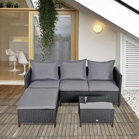 Outsunny Conjunto de móveis de jardim 4 peças sofá duplo de vime mesa de centro banquinho com almofadas acolchoadas para ar livre estrutura de metal Preto