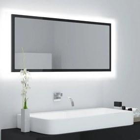 804946 vidaXL Espelho casa de banho LED 100x8,5x37 cm contrapl. preto brilh.