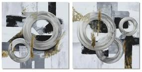 Pintura DKD Home Decor Pinheiro Tela Abstrato (2 pcs) (80 x 2.8 x 80 cm)