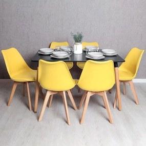 Conjunto Mesa Retangular 120 x 80 cm Preta e 6 Cadeiras Nórdicas Synk
