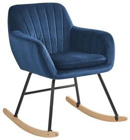 Cadeira de baloiço em veludo azul marinho LIARUM
