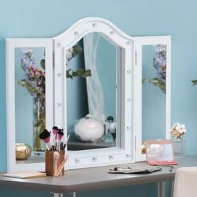 HOMCOM Espelho de Maquilhagem com Luz LED Dobrável Espelho Triplo de Mesa Presente Original para Mulher, 73x53,5x4,5cm