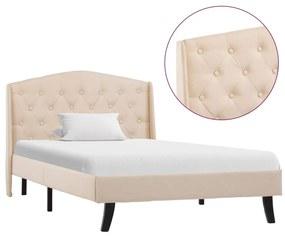 286740 vidaXL Estrutura de cama 100x200 cm tecido cor creme