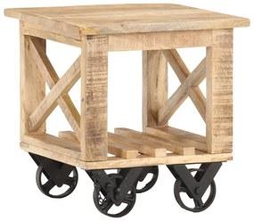 320936 vidaXL Mesa de apoio c/ rodas 40x40x42 cm madeira de mangueira áspera