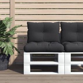 47462 vidaXL Almofadões para sofás de paletes 2 pcs tecido preto