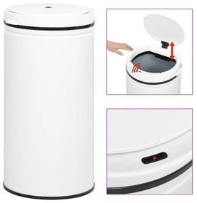 322714 vidaXL Caixote do lixo com sensor automático 70 L aço carbono branco