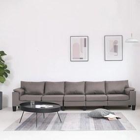 287109 vidaXL Sofá de 5 lugares em tecido cinzento-acastanhado