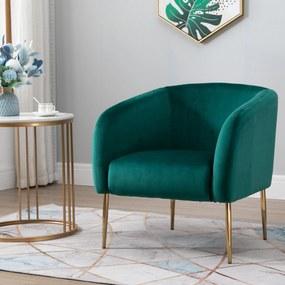HOMCOM Poltrona de veludo moderna acolchoado com pernas de metal para sala de estar 75x74x76 cm Verde