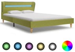 280608 vidaXL Estrutura de cama com LEDs em tecido 120x200 cm verde