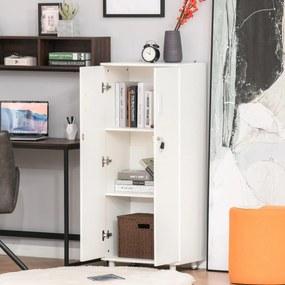 HOMCOM Estante Gabinete com 2 portas para CDs livros DVDs com 3 prateleiras internas e fechadura multiuso para escritório Quarto 55x36,5x125,5 cm Branco