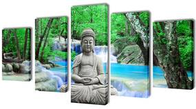 241589 vidaXL Políptico com impressão Buddha 200x100 cm