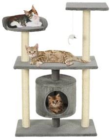 170512 vidaXL Árvore para gatos c/postes arranhadores sisal 95 cm cinzento
