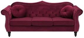 Sofá de 3 lugares em veludo vermelho escuro SKIEN