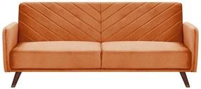 Sofá-cama de 3 lugares em veludo laranja SENJA