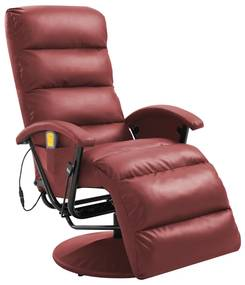 248485 vidaXL Cadeira de massagens reclinável couro artificial vermelho tinto